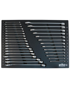 31 Piece Combination Wrench Tray Set - SAE and Metric