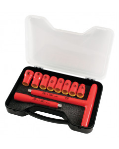 """Insulated 3/8"""" Drive T-Handle and Metric Sockets 10 Piece Set"""