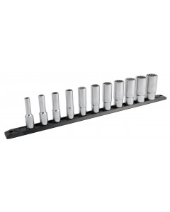 """3/8 Inch Drive 12 Point Deep Socket Set 1/4 to 7/8"""" with Ratchet and Extensions 13-Piece"""