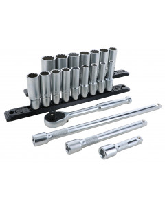 3/8 Inch Drive 12 Point Deep Socket Set 7-22mm with Ratchet and Extensions 13-Piece