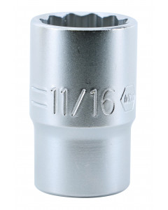 "1/2"" Drive Deep Socket, 12 Point, 11/16"""