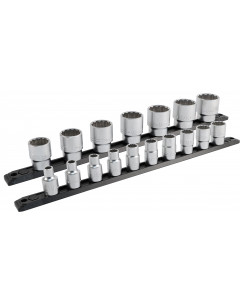 1/2 Inch Drive 12 Point Socket Set 8-34mm with Ratchet and Extensions 21-Piece
