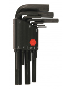 Hex Short Arm L-Key Black Metric 9 Piece Set