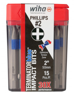 TerminatorBlue Impact Bit Phillips #2 - 2 Inch - 15 Pack