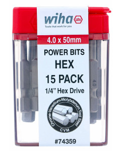 4.0mm Hex 2-Inch Contractor Pack of 15 Bits