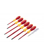 Insulated Slotted, Phillips, Square Screwdrivers and Tester 7 Piece Set