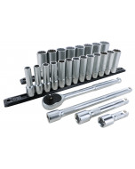 1/2 Inch Drive 12 Point Deep Socket Set 10-32mm with Ratchet and Extensions 25-Piece